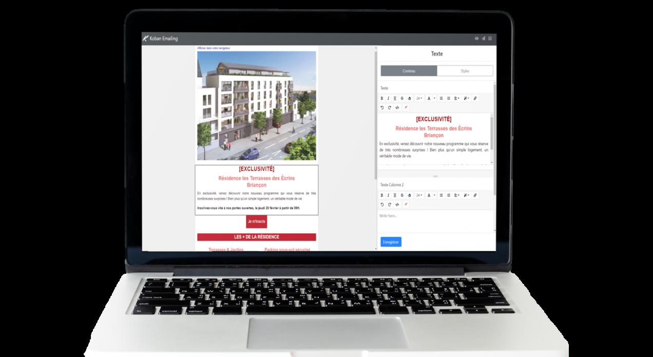 Capture d'écran éditeur emailing Koban Immobilier
